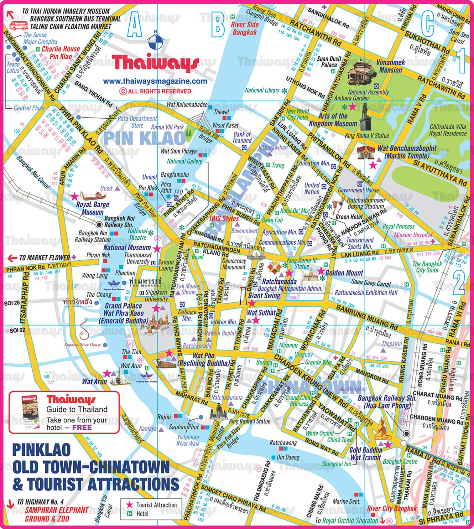 Pinklao-Old Town-Chinatown-Tourist Attractions-Map